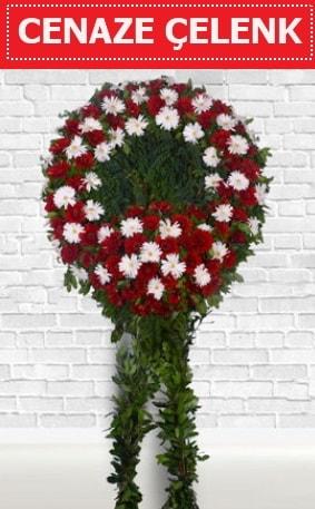 Kırmızı Beyaz Çelenk Cenaze çiçeği  Bitlis İnternetten çiçek siparişi