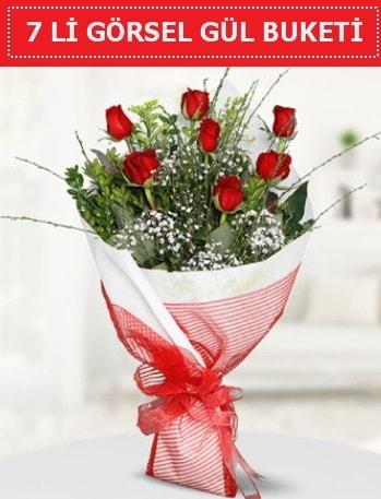 7 adet kırmızı gül buketi Aşk budur  Bitlis çiçek satışı