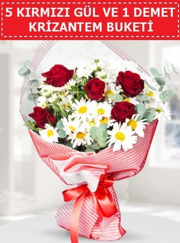 5 adet kırmızı gül ve krizantem buketi  Bitlis çiçek satışı