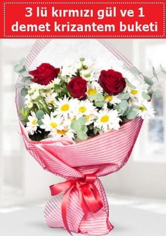 3 adet kırmızı gül ve krizantem buketi  Bitlis çiçek gönderme sitemiz güvenlidir