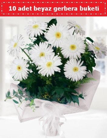 10 Adet beyaz gerbera buketi  Bitlis çiçek , çiçekçi , çiçekçilik