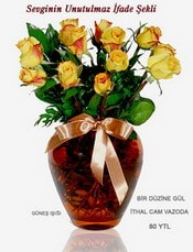 Bitlis internetten çiçek satışı  mika yada Cam vazoda 12 adet sari gül